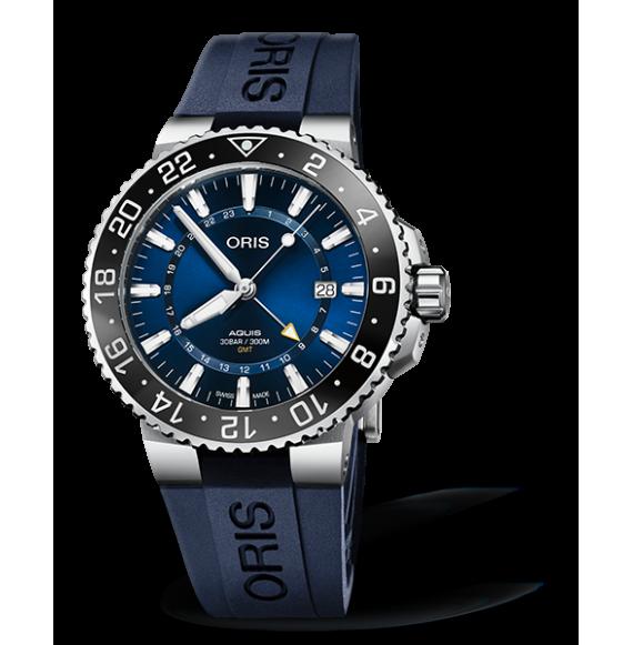 Reloj azul Oris Aquis GMT Date 01 798 7754 4135-07 4 24 65EB automático de acero inoxidable para hombre