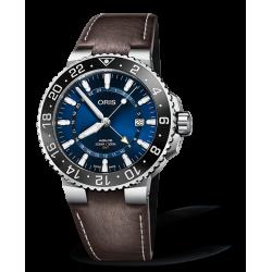 Reloj Oris Aquis GMT Date automático de acero y piel marrón para hombre