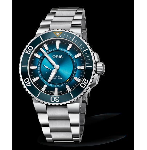Reloj azul Oris Great Barrier edición limitada 01 743 7734 4185-Set de acero  para hombre