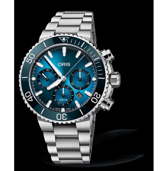 Reloj acero Oris Blue Whale Edición Limitada 01 771 7743 4185-Trilogy Set  automático con cronógrado para hombre