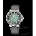 Reloj Oris Aquis Date automático de acero y piel gris para hombre
