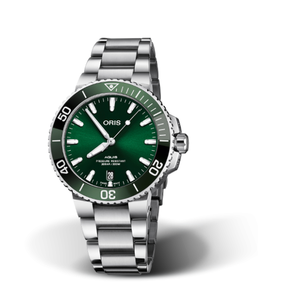 Reloj verde Oris Aquis Date 01 733 7732 4157-07 8 21 05PEB automático de acero inoxidable para hombre