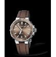 Reloj tela castaño Oris Aquis Date 01 733 7731 4156-07 3 18 01FC automático de acero para mujer
