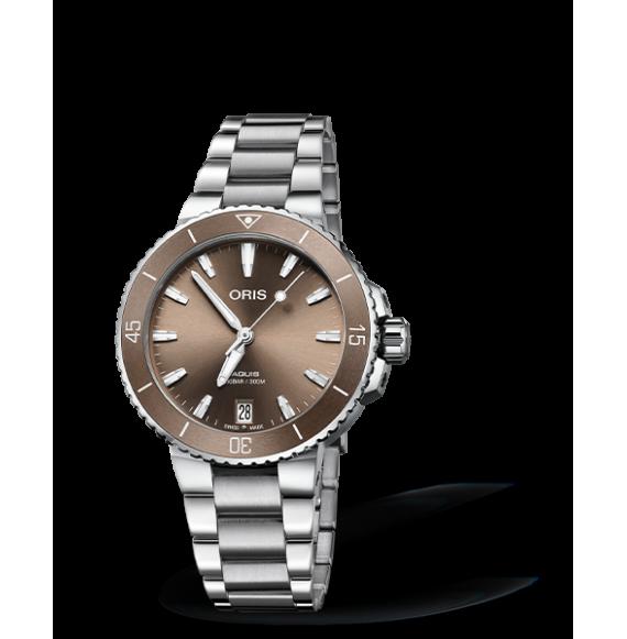 Reloj marrón Oris Aquis Date 01 733 7731 4156-07 8 18 05P  automático de acero inoxidable para mujer