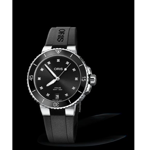 Reloj negro Oris Aquis Date Diamonds 01 733 7731 4194-07 4 18 64FC automático de acero para mujer