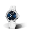 Reloj Oris Aquis Date Diamonds automático de acero y caucho blanco de mujer