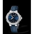 Reloj tela azul Oris Aquis Date Diamonds  01 733 7731 4995-07 5 18 46FC automático de acero para mujer