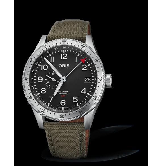 Reloj tela verde Oris Big Crown Propilot Time GMT 01 748 7756 4064-07 3 22 02LC automático de acero para hombre