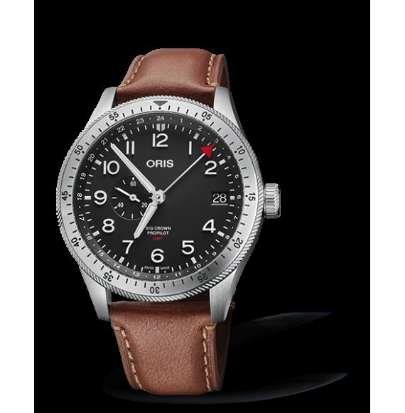 Reloj piel marrón Oris Big Crown Propilot Time GMT 01 748 7756 4064-07 5 22 07LC automático de acero para hombre