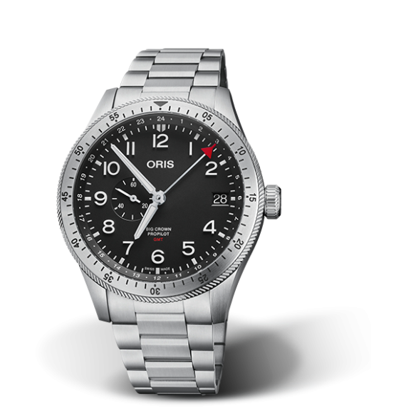 Reloj esfera negra Oris Big Crown Propilot Time GMT 01 748 7756 4064-07 8 22 08 automático de acero inoxidable para hombre