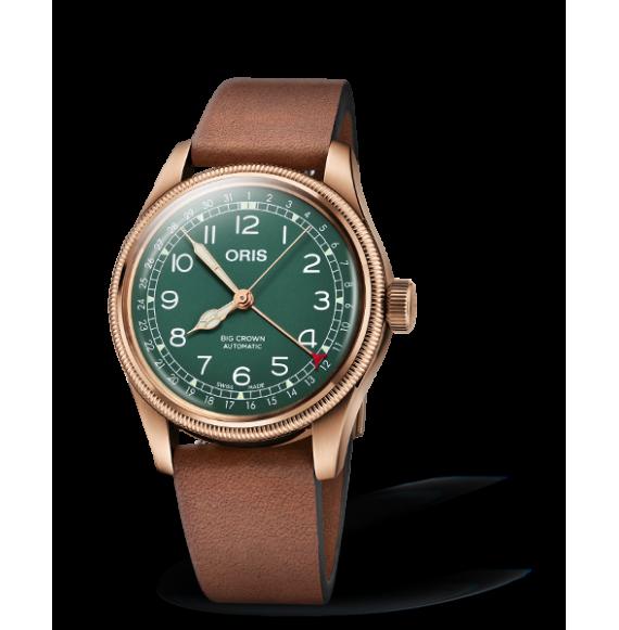 Reloj piel castaño Oris Big Crown Pointer Date Edición 80 Aniversario 01 754 7741 3167-07 5 20 58BR automático de bronce para ho