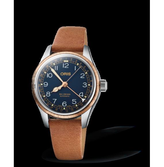 Reloj piel castaña Oris Big Crown Pointer Date 01 754 7749 4365-07 5 17 66 automático con acero inoxidable para mujer