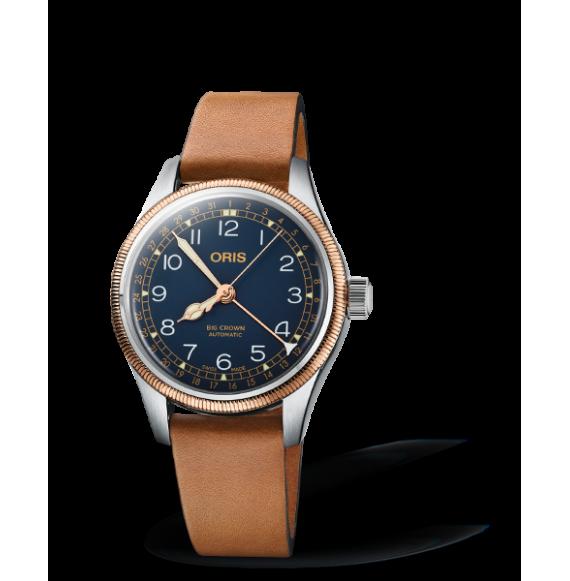 Reloj piel castaña Oris Big Crown Pointer Date 01 754 7749 4365-07 5 17 66G automático de acero  inoxidable para mujer