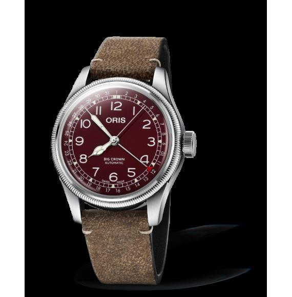 Reloj piel castaña Oris Big Crown Pointer Date 01 754 7741 4068-07 5 20 50 automático de acero para hombre