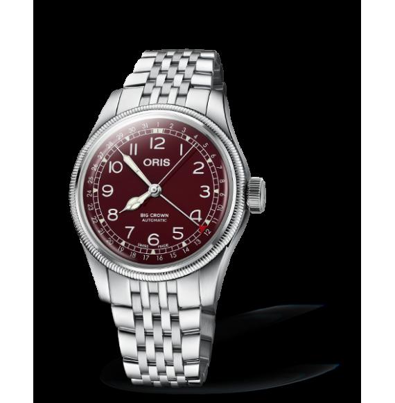 Reloj esfera roja Oris Big Crown Pointer Date 01 754 7741 4068-07 8 20 22 automático de acero inoxidable para hombre