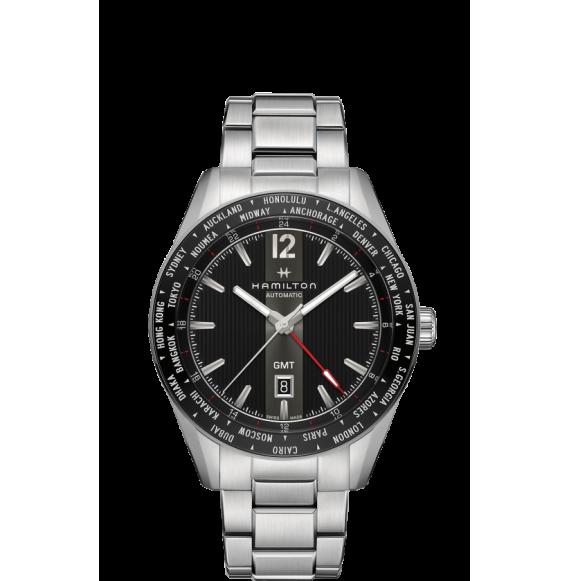 Reloj negro Hamilton Broadway GMT Edición Limitada H43725131 automático de acero inoxidable para hombre