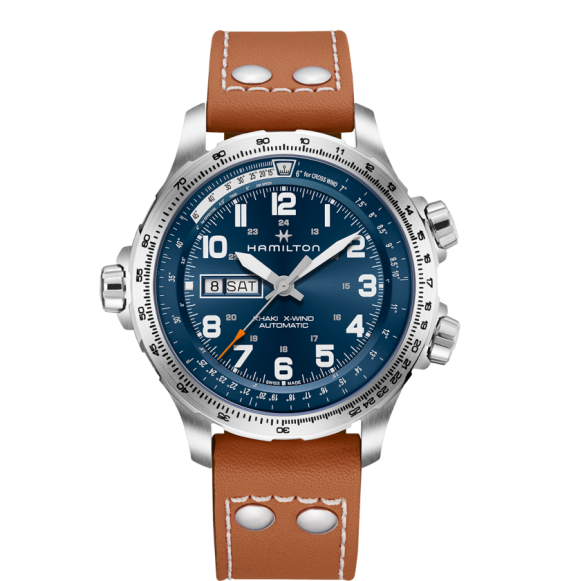 Reloj Hamilton Khaki Aviation X-Wind Day Date Auto H77765541 marrón acero hombre