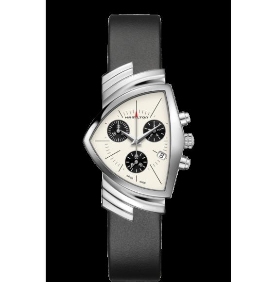 Reloj Hamilton Ventura Chrono Quartz H24432751 negro acero mujer