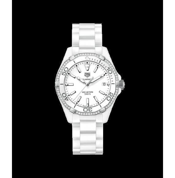Reloj Tag Heuer Aquaracer Cuarzo WAY1396.BH0717 de acero con bisel de diamantes para mujer