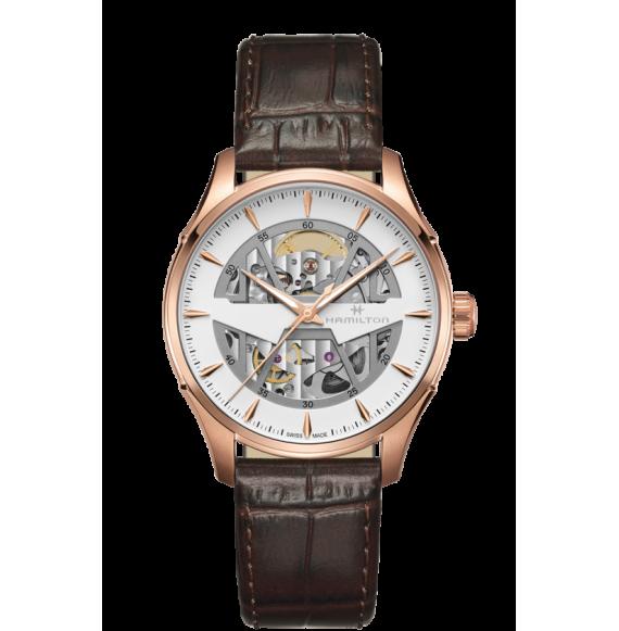 Reloj Hamilton Jazzmaster Skeleton H42505510 Automático de acero y PVD rosa para hombre