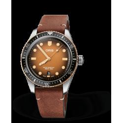 Reloj Oris Divers Sixty-Five automático de piel marrón para hombre