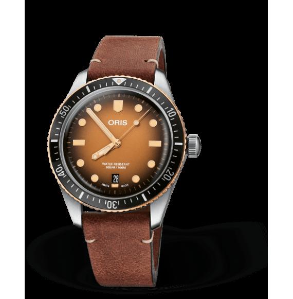 Reloj Oris Divers Sixty-Five 01 733 7707 4356-07 5 20 45 automático de piel marrón para hombre