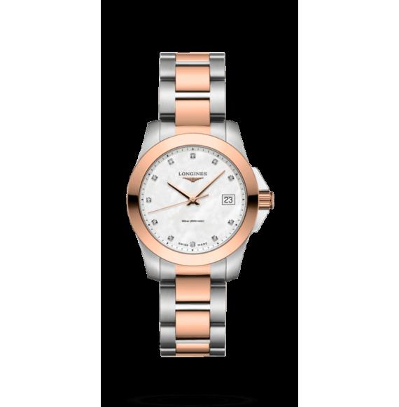 Reloj Longines Conquest L3.377.3.87.7 cuarzo con diamantes para mujer
