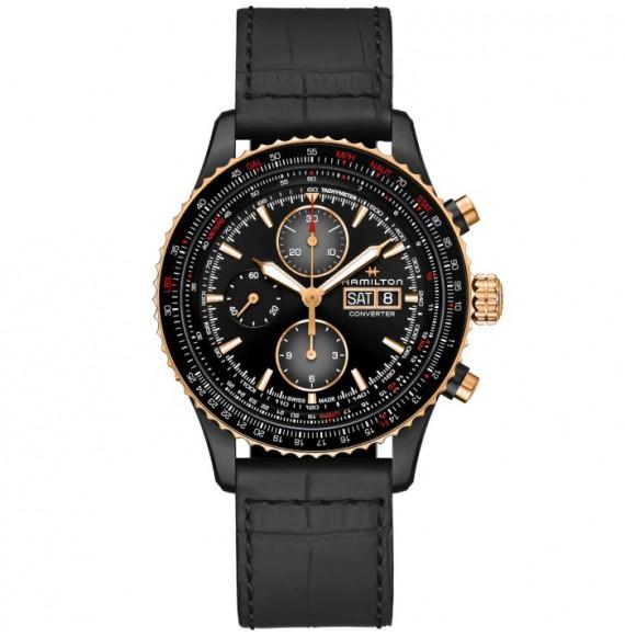 Reloj Hamilton Khaki Aviation Converter Auto Chrono H76736730 con PVD negro para hombre