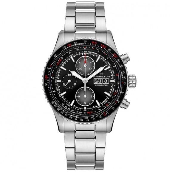 Reloj Hamilton Khaki Aviation Converter Auto Chrono H76726130 de acero para hombre
