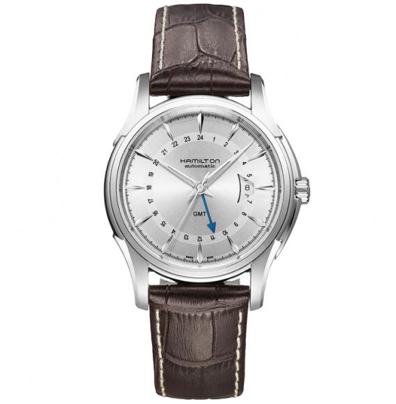 Reloj Hamilton Jazzmaster Traveler GMT Auto H32585551 de piel de vaca marrón para hombre