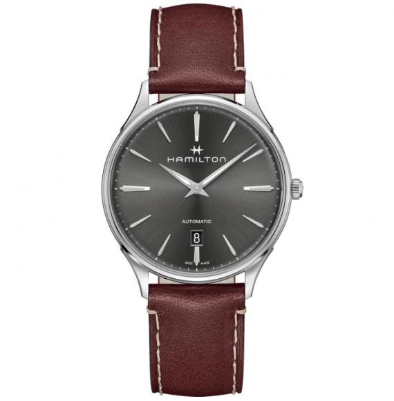 Reloj Hamilton Jazzmaster Thinline Auto H38525881 de caucho marrón para hombre