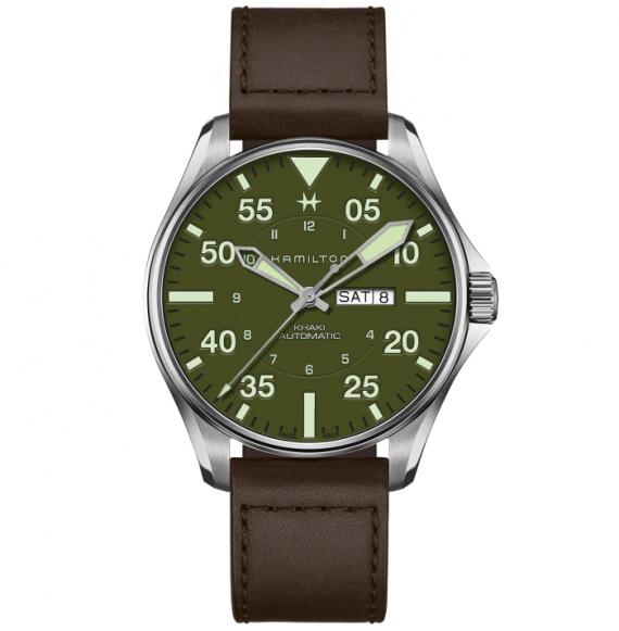 Reloj Hamilton Khaki Aviation Pilot Schott NYC - Limited Edition H64735561 automático de cuero para hombre