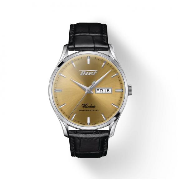 Reloj Tissot Heritage Visodate Powermatic 80 T118.430.16.021.00 de piel negra para hombre