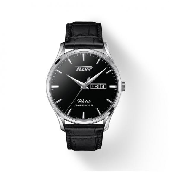 Reloj Tissot Heritage Visodate Powermatic 80 T118.430.16.051.00 de piel negra para hombre