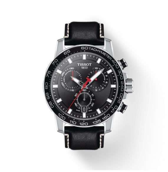 Reloj Tissot T-Sport Supersport Chrono T125.617.16.051.00 cuarzo de piel negra para hombre