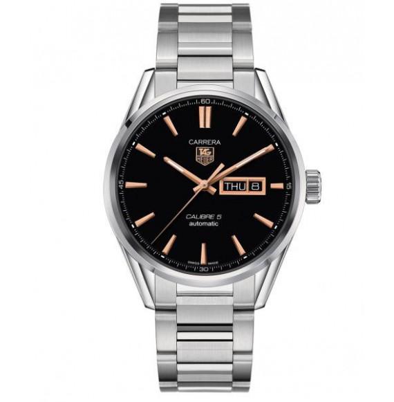 Reloj negroTag Heuer Carrera WAR201B.BA0723 automático de acero satinado pulido para hombre