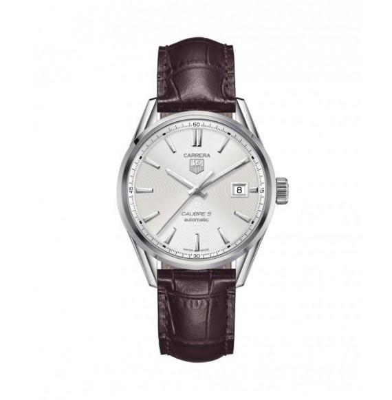 Reloj piel marrón Tag Heuer Carrera WAR211B.FC6181 automático de acero pulido para hombre