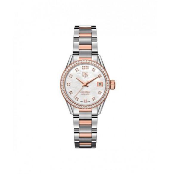 Reloj blanco nacarado Tag Heuer Carrera WAR2453.BD0777 automático bicolor con diamantes para mujer