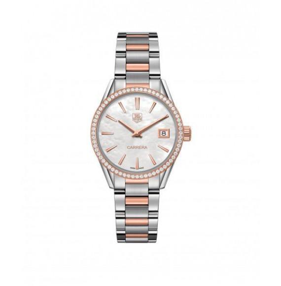 Reloj blanco nacarado Tag Heuer Carrera WAR1353.BD0779 automático bicolor con diamantes para mujer